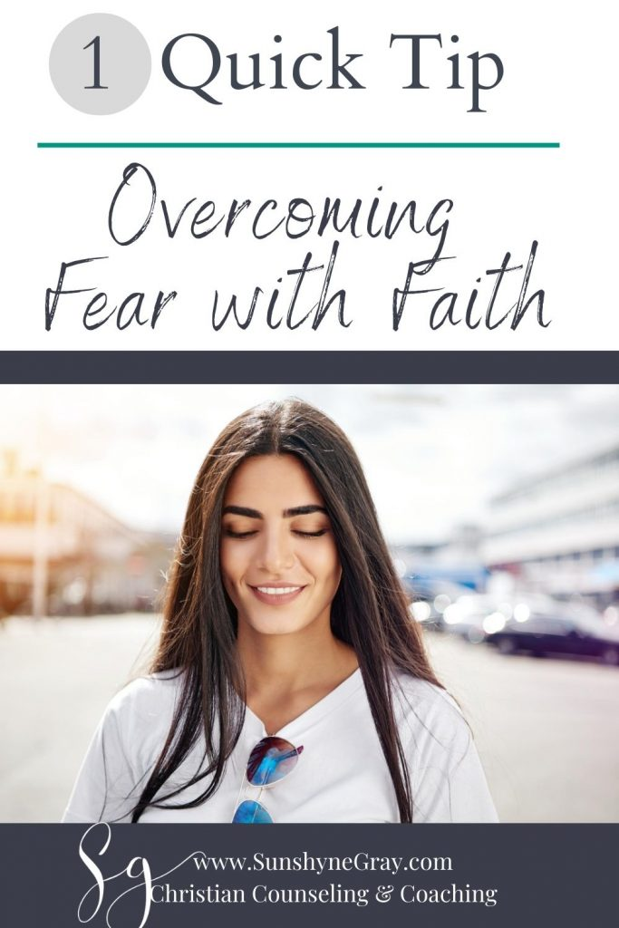 overcoming fear with fiath title with woman smiling