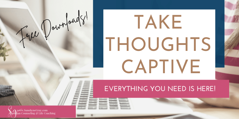 title everything to take thoughts captive woman typing