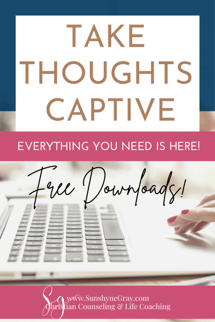 title everything you need to take thoughts captive woman typing